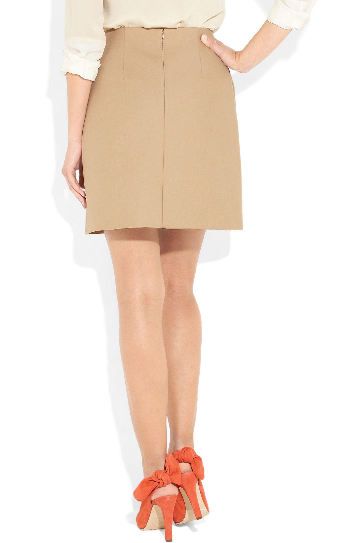 Carven Pleated cotton-twill mini skirt