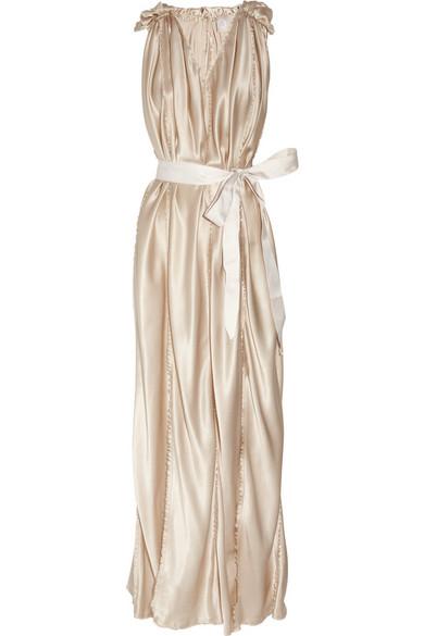 Lanvin Belted Silk Satin Gown