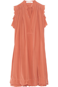 Chloé | Gathered silk crepe de chine dress | NET-A-PORTER.COM