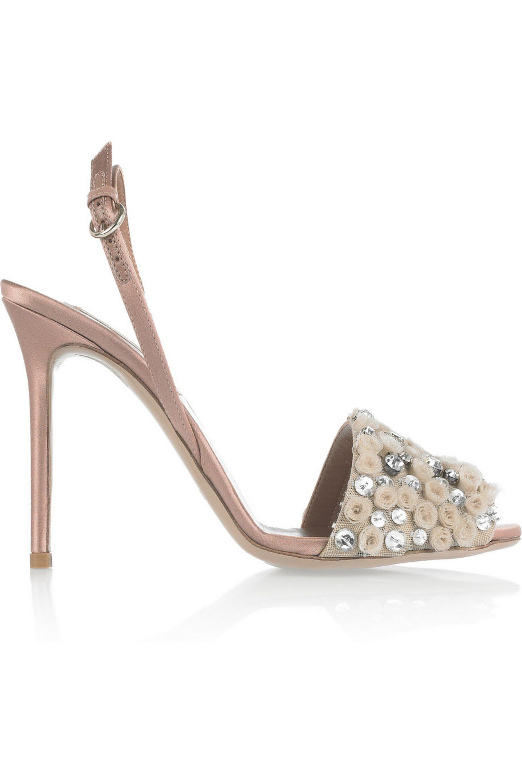 Valentino Crystal-embellished satin sandals