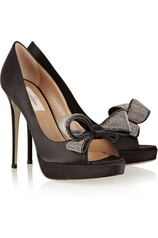 Valentino | Jewelry Couture satin peep-toe pumps | NET-A-PORTER.COM