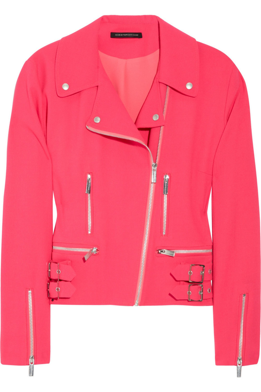 Christopher Kane Neon wool-blend crepe biker jacket
