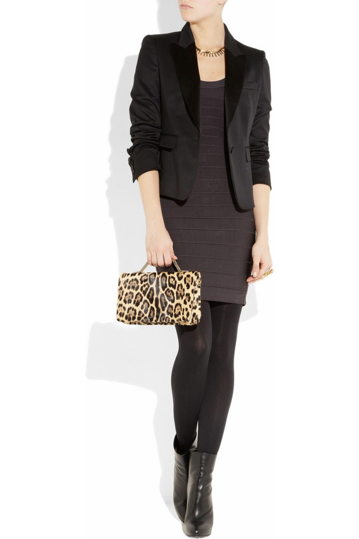 Valentino Leopard-print calf hair clutch