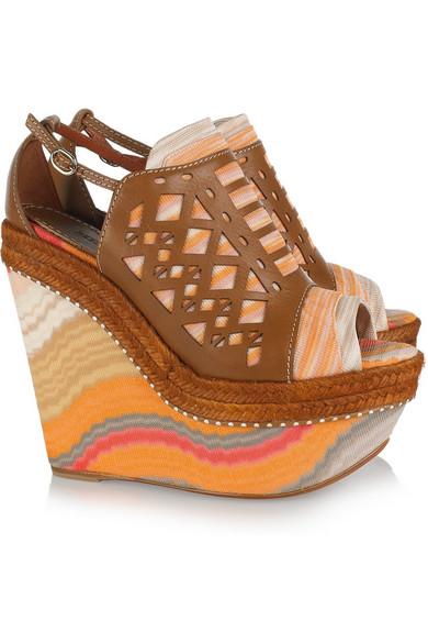 f4ace572211 Missoni. Leather and crochet-knit platform sandals
