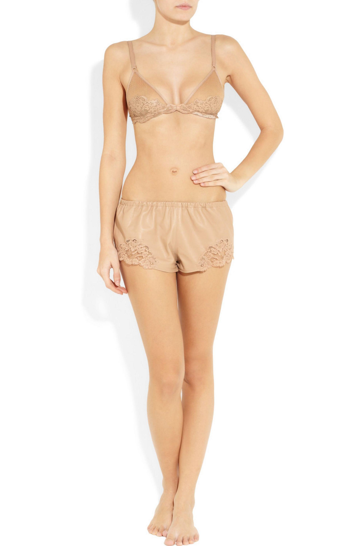 La Perla Leather and lace shorts