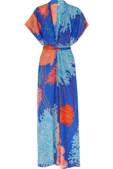 Issa Printed Silk Kimono Maxi Dress