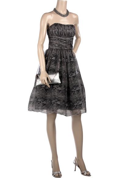 6b03fc1f527 Anna Sui. Strapless python print dress