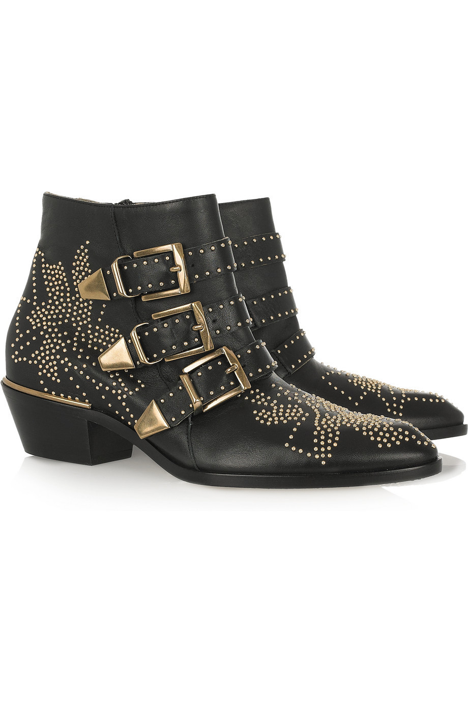 Chloe Gold Studded Ankle Boots Chloé Studded Leather Ankle