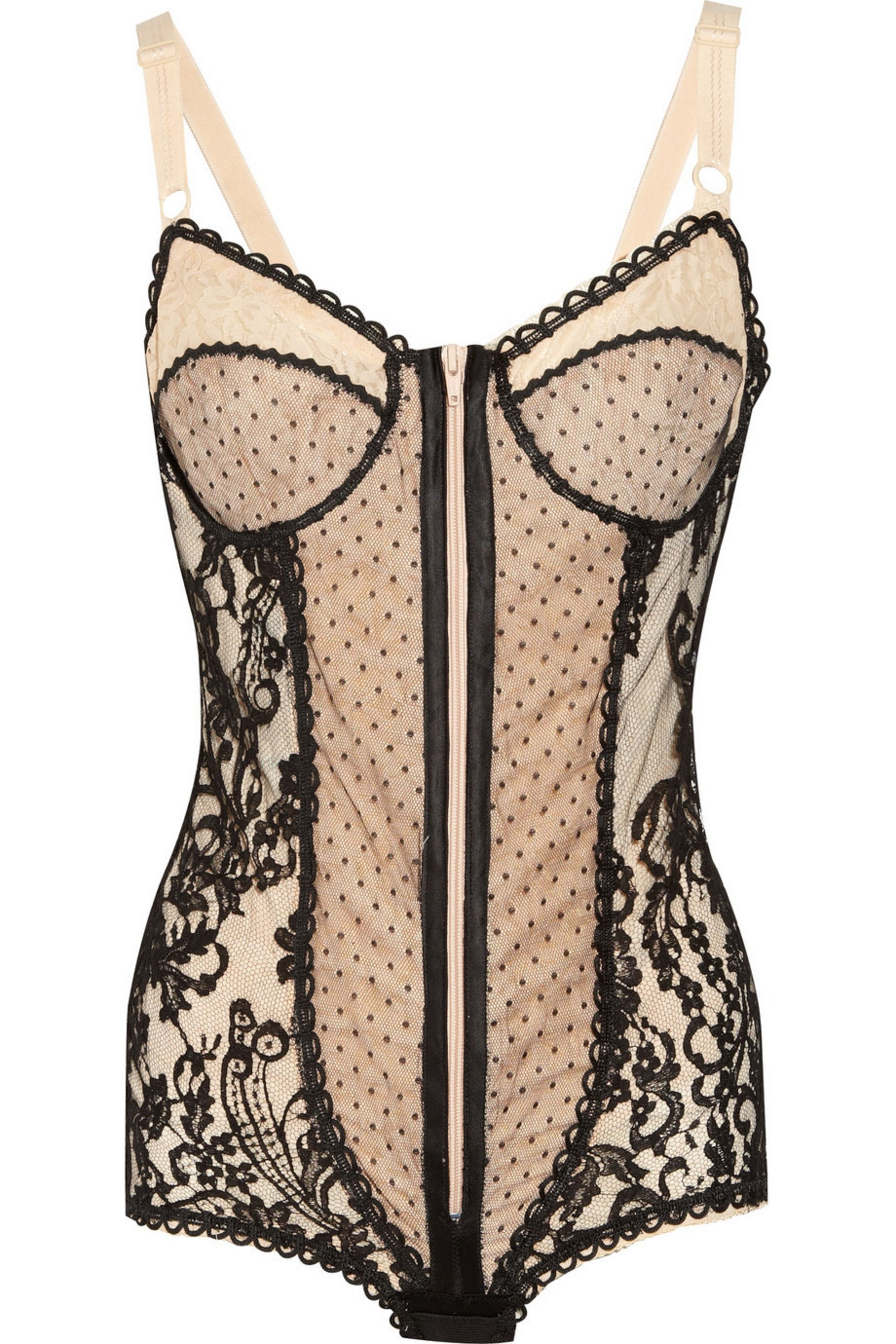 Rosamosario Vanessa P lace and tulle bodysuit