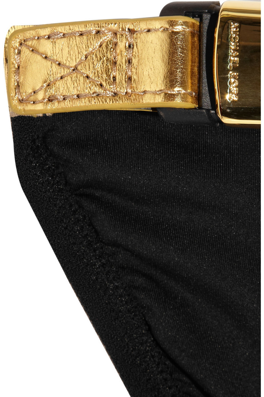 Michael Kors Speed Clip metallic-trimmed triangle bikini