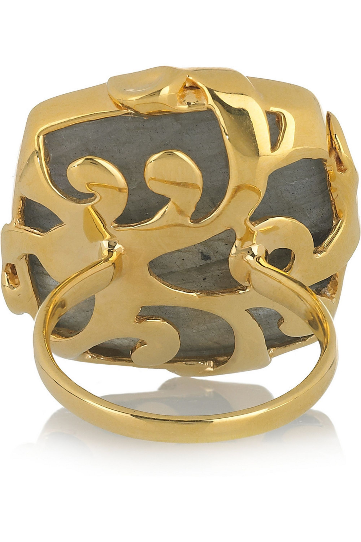 Monica Vinader 18-karat gold-vermeil labradorite ring