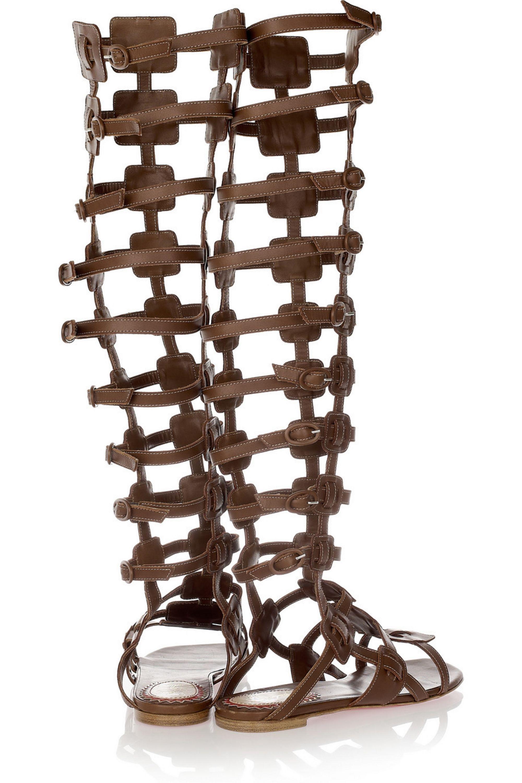 Christian Louboutin 20th Anniversary Rose Du Desert leather gladiator knee sandals