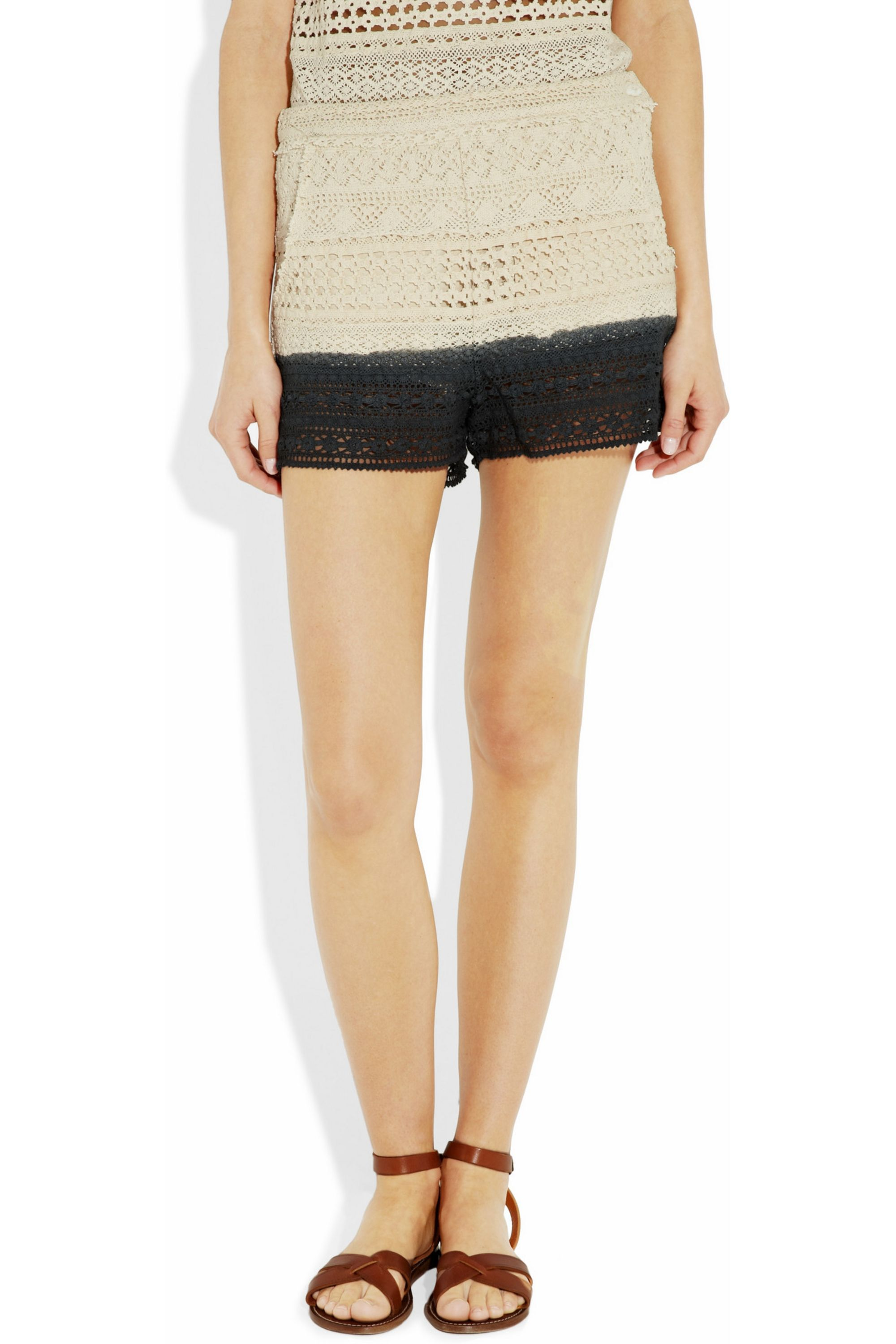 Band of Outsiders Cleo dip-dyed crochet-knit shorts