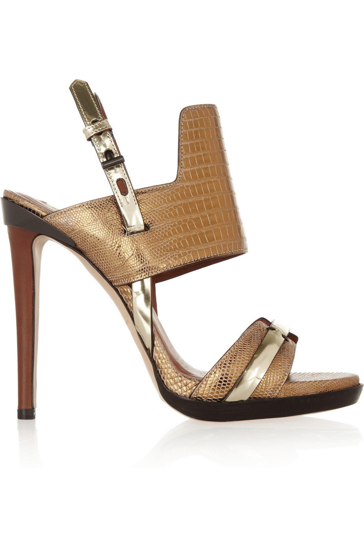Reed Krakoff Metallic lizard and leather sandals