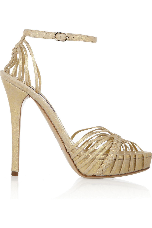 Ralph Lauren Collection Jen metallic leather sandals