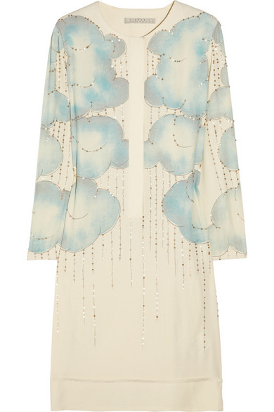 Victoria Beckham Sequined Cloud Print Georgette Dress