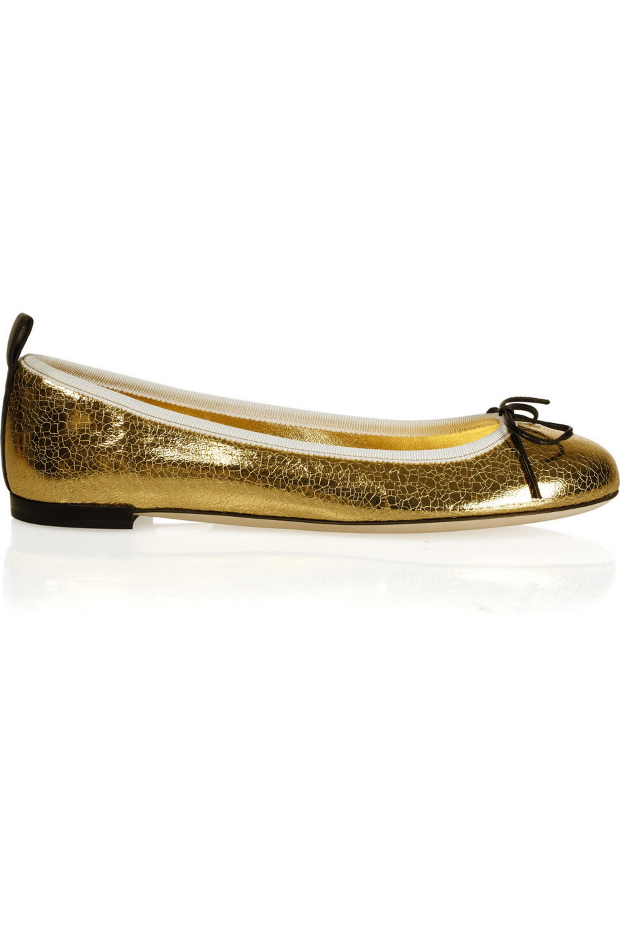 Gucci Metallic cracked-leather ballet flats