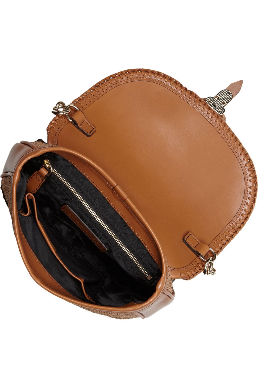 Burberry Leather and raffia shoulder bag