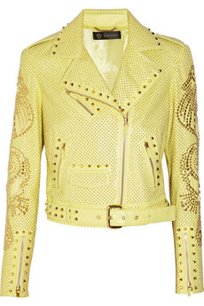 Versace | Studded leather biker jacket | NET-A-PORTER.COM from net-a-porter.com