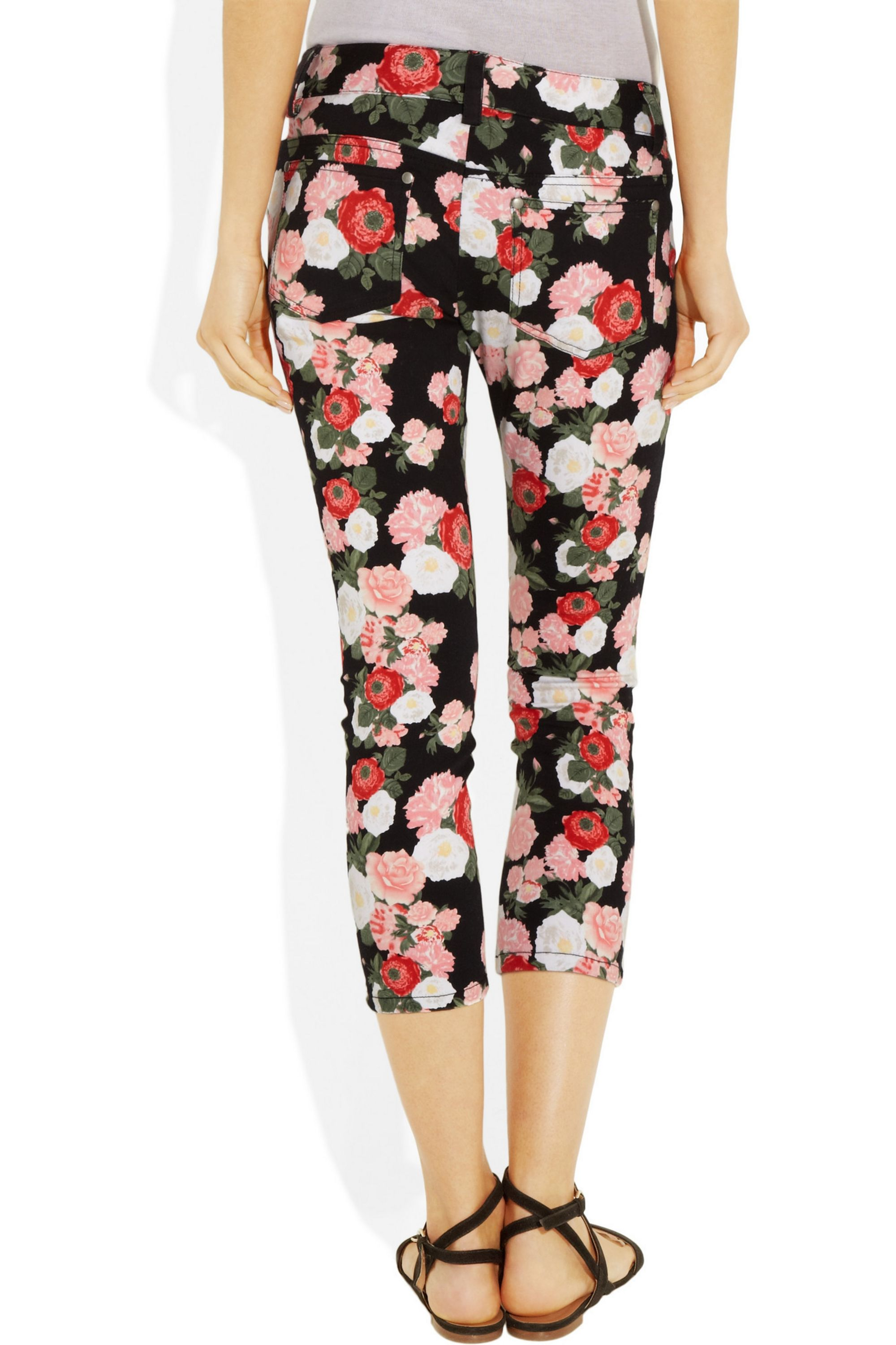 Alice + Olivia Cropped printed low-rise skinny jeans
