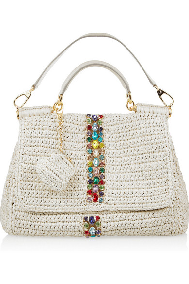 Dolce   Gabbana. Raffia and leather shoulder bag fa35fd4171a40