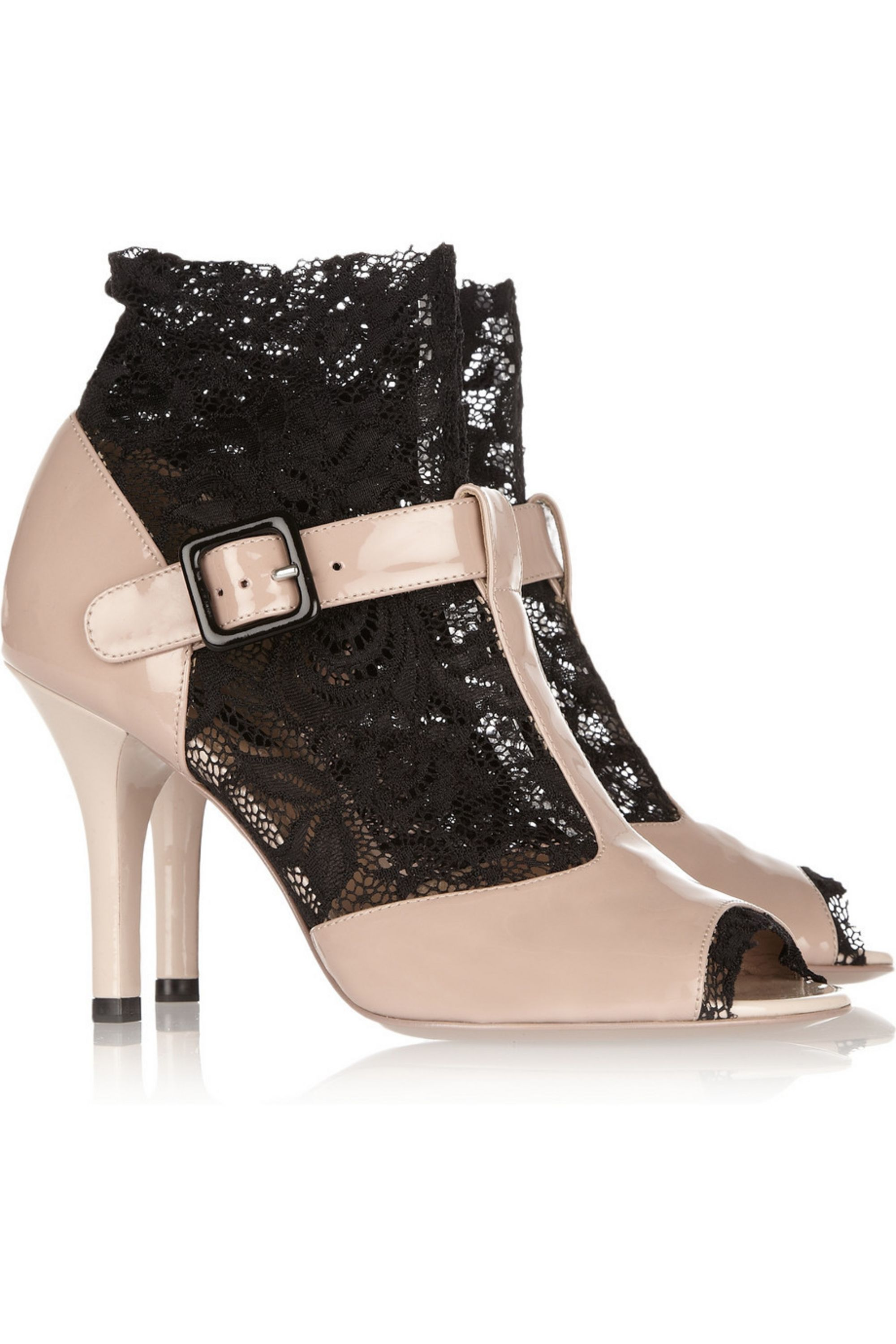 Dolce & Gabbana Lace-insert patent-leather sandals