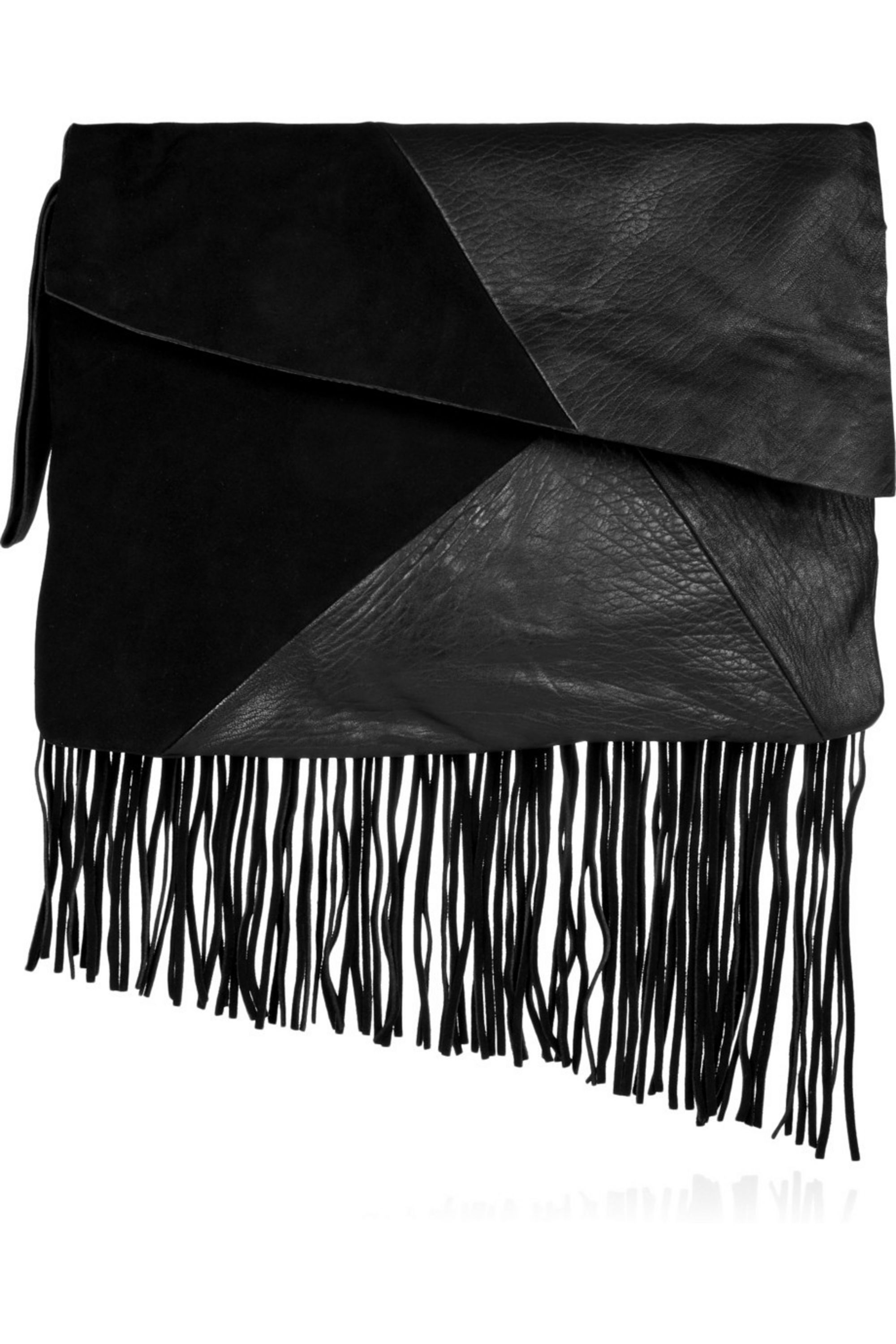 OAK Fringed suede and textured-leather clutch