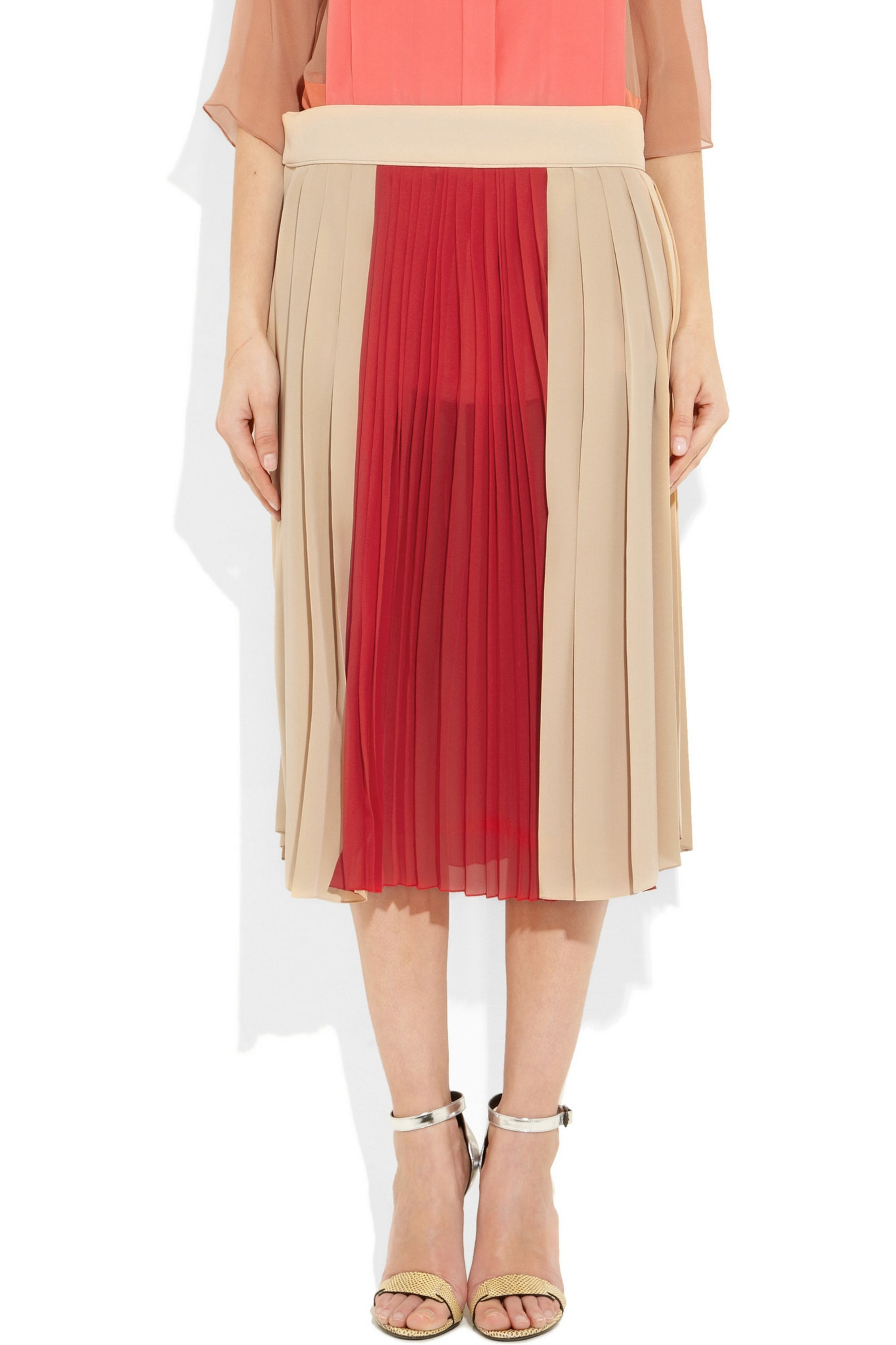 Chloé Pleated crepe and silk-chiffon skirt