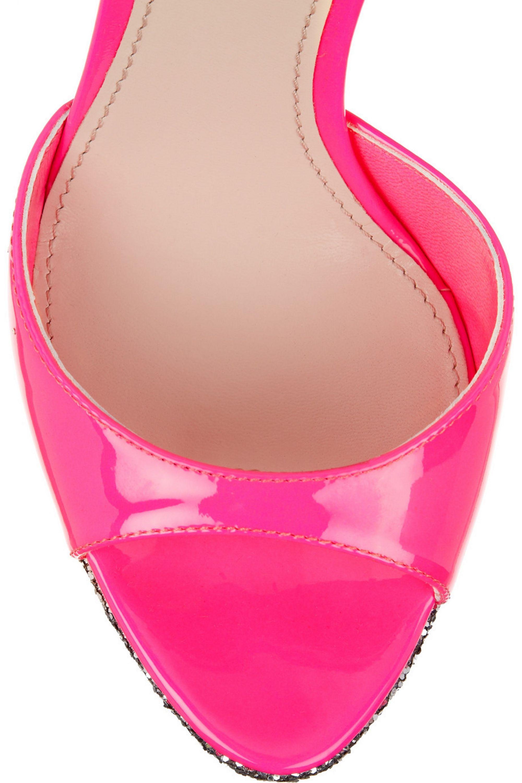 Miu Miu Glitter-finished patent-leather sandals