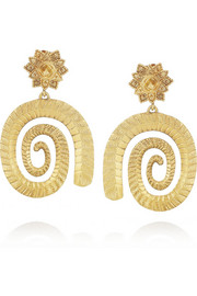 Gold-plated silver spiral earrings