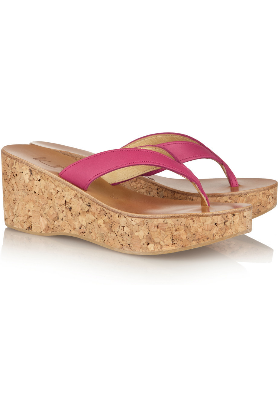 73094dca34226 K JACQUES ST TROPEZ Diorite leather and cork wedge sandals