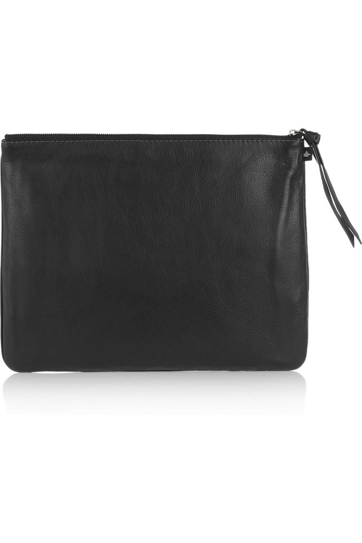 NewbarK Oversized snake-print leather clutch