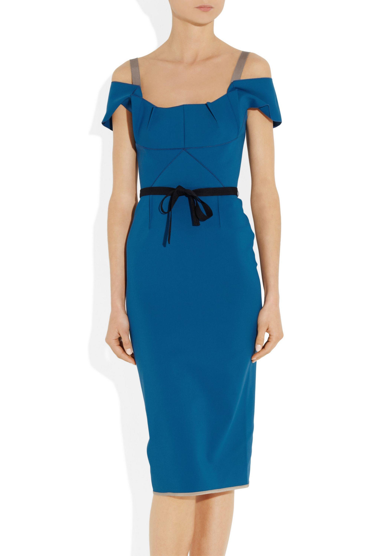 Roland Mouret Herbert off-the-shoulder stretch cotton-blend dress