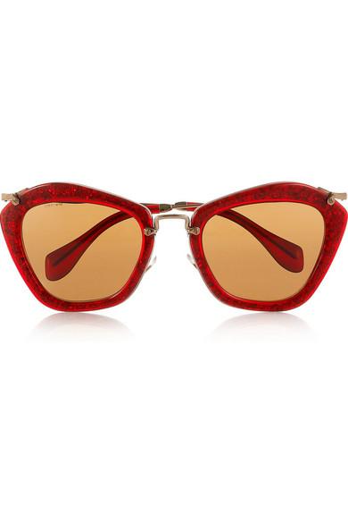 6bb9ab3d8a43 Miu Miu. Cat eye glittered acetate and metal sunglasses