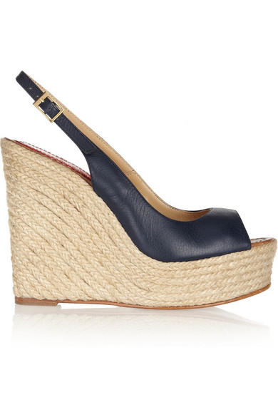 new product 08649 a4bf0 Leather espadrille wedge sandals