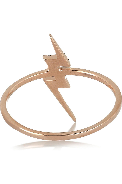 Diane Kordas Lightning Bolt 18-karat rose gold diamond ring