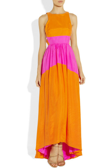 Tibi | Color-block sandwashed-silk maxi dress | NET-A-PORTER.COM