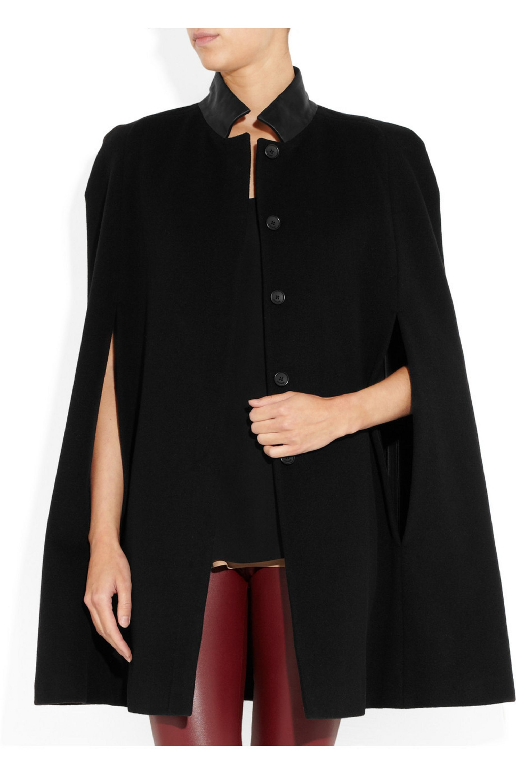 Just Cavalli Leather-trimmed wool-blend cape