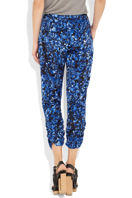 DKNY Printed stretch silk crepe de chine pants