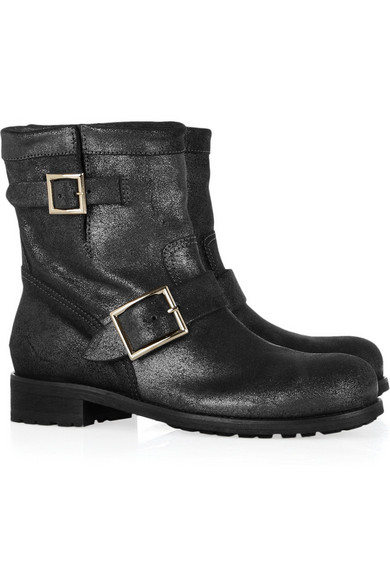 8cf779d8f9831 Jimmy Choo | Youth metallic leather biker ankle boots | NET-A-PORTER.COM
