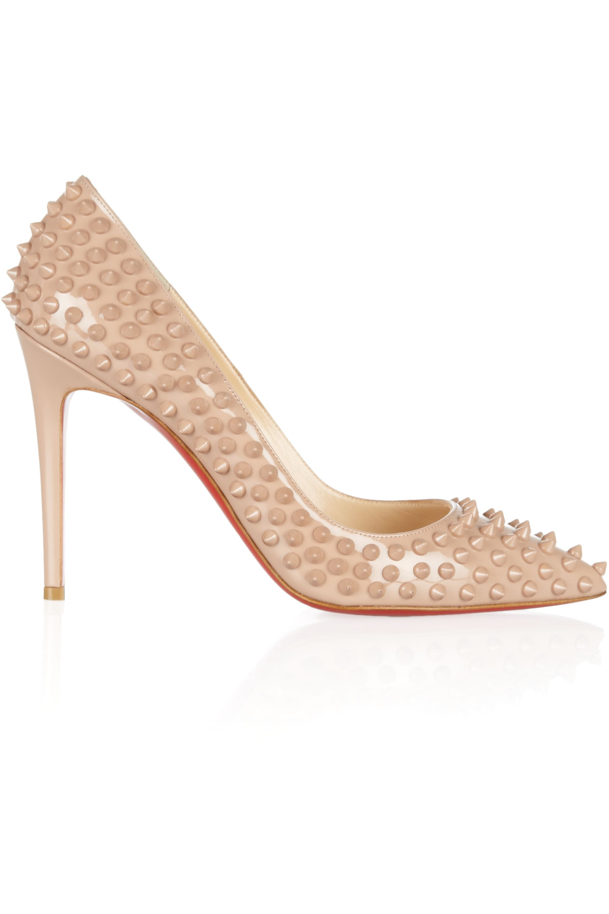 Christian Louboutin Pigalle 100 spiked patent-leather pumps