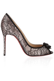 Christian Louboutin Milady 100 Chantilly lace and satin peep-toe pumps