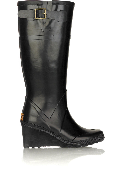 Black Wedge Wellington boots | KORS