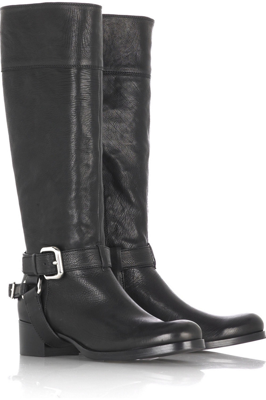 Black Leather biker boots   Miu Miu