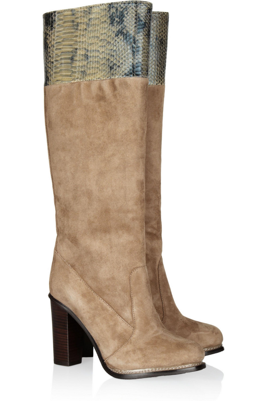 Diane von Furstenberg Shelly suede and python-effect leather knee boots