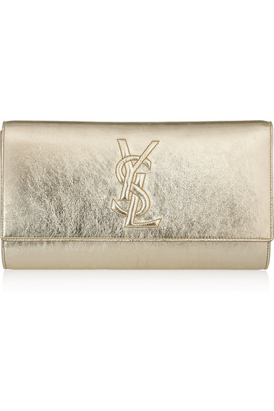 ba3506483f Yves Saint Laurent | Belle de Jour metallic textured-leather clutch ...