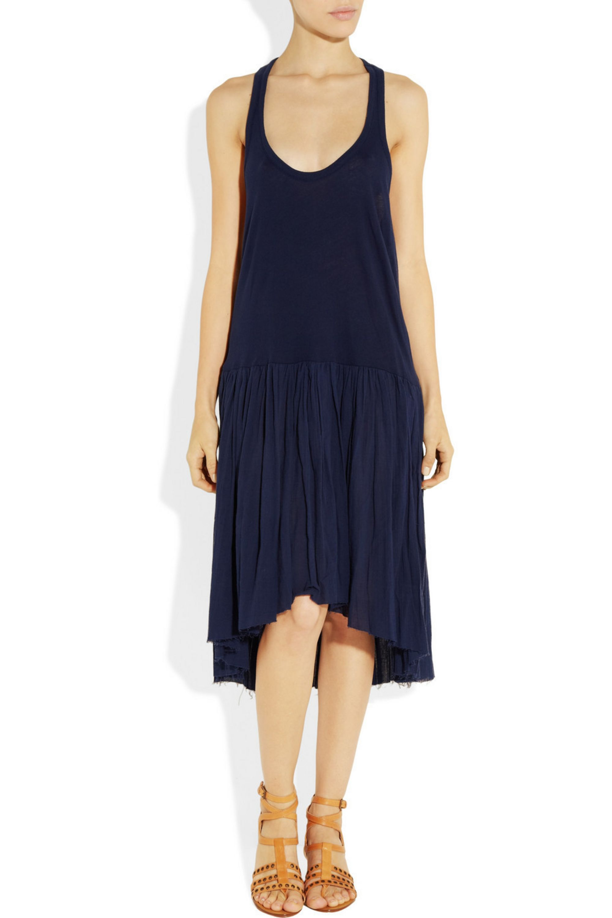 Raquel Allegra Pleated cotton-jersey and voile dress