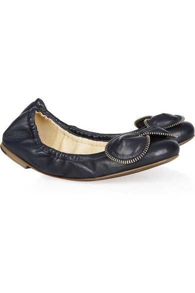 see by chlo zipper bow leather ballet flats net a. Black Bedroom Furniture Sets. Home Design Ideas