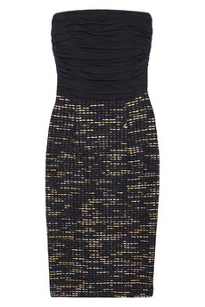 Alice + Olivia | Ruched silk-blend crepe and woven tweed dress | NET-A-PORTER.COM
