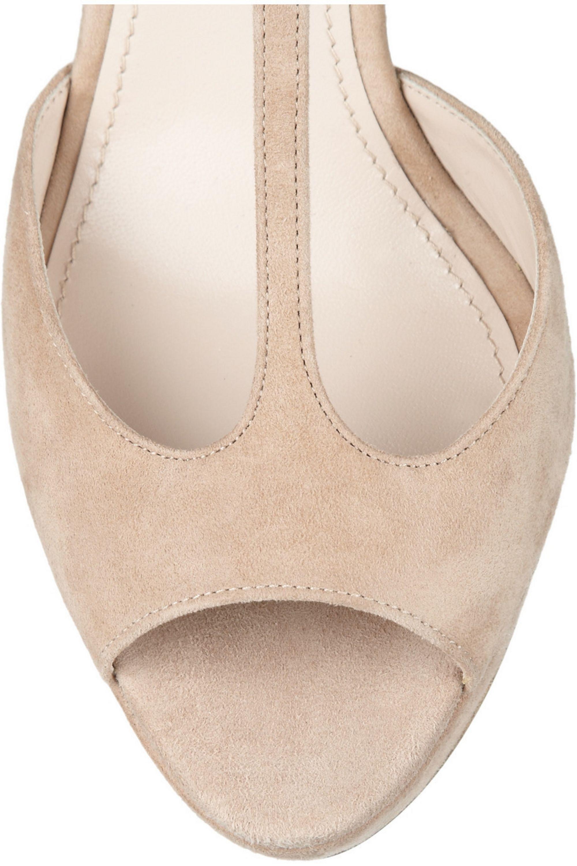 Miu Miu Glitter-finished suede Mary Jane sandals